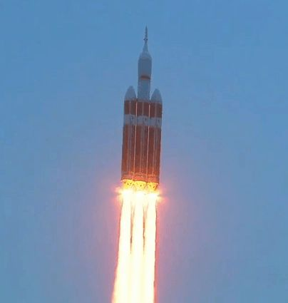 NASA's Orion spacecraft roars into space atop a United Launch Alliance Delta IV Heavy rocket, December 5, 2014, from Space Launch Complex 37 at Cape Canaveral in Florida.