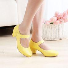 2014 nieuwe vrouwen mary jane schoenen mid hiel ronde neus prinses velcro gesp ondiepe mond enkele schoenen helpen lage schoenen grote maat(China (Mainland))