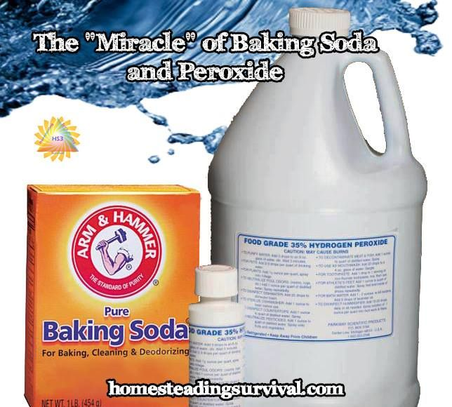 "The ""Miracle"" of Baking Soda & Peroxide - how to make a safe cleaning solution that can be used for everything! More info here: http://homesteadingsurvival.com/the-miracle-of-baking-soda-peroxide/"