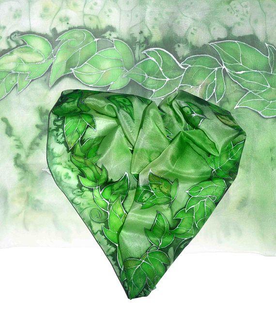 Handpainted silk scarf  Green leaves silk painting original