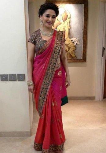 Madhuri Dixit Pink Chiffon Saree Bogglingshop.com