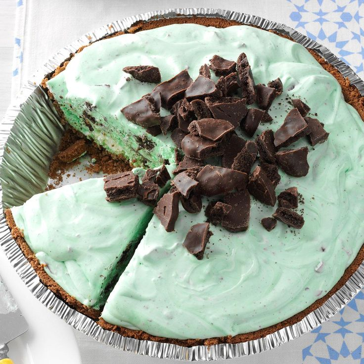 Grasshopper Pie Recipe -I only need six ingredients to whip up this fluffy and refreshing grasshopper pie. I usually make two of the minty treats for our family, since we're never satisfied with just one slice. —LouCinda Zacharias, Spooner, Wisconsin