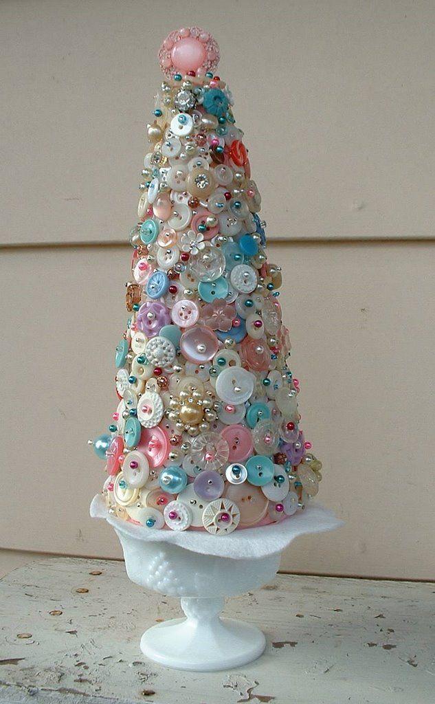 Button Tree in Milkglass pedestal just like
