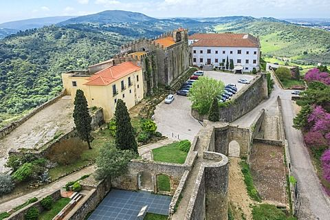 View from Palmela castle over the Serra da Arrabida, Setubal Peninsula, Lisbon Coast, Portugal, Europe