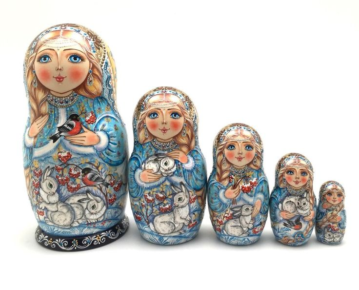 Russian Beauty Snowmaiden w/ baby rabbits Nesting Doll Hand Painted Signed #Buyrussiangifts