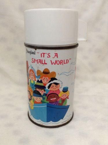 Vintage Disney It's A Small World Metal Aladdin Thermos - Disneyland RARE