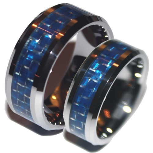 Tungsten Blue Carbon Fiber Wedding Ring