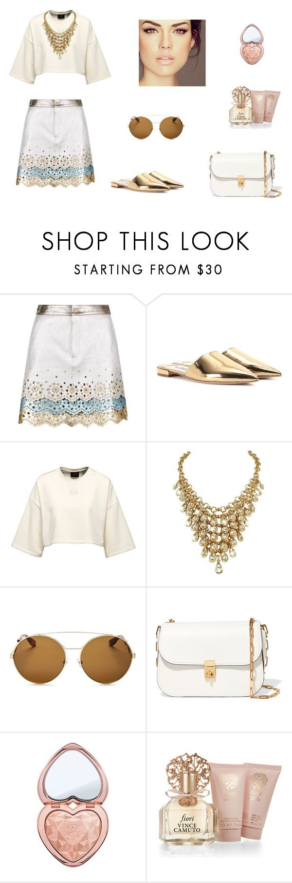 """""""Gold times"""" by ustine on Polyvore featuring moda, Prada, Givenchy, Valentino, Too Faced Cosmetics i Vince Camuto"""
