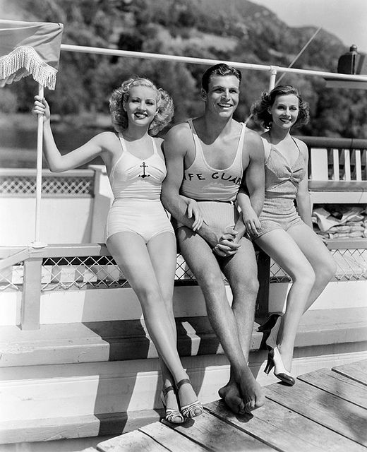Betty Grable, Buster Crabbe and Eleanore Whitney movie stars models beach bathing suits photo print ad 30s 40s fashion style