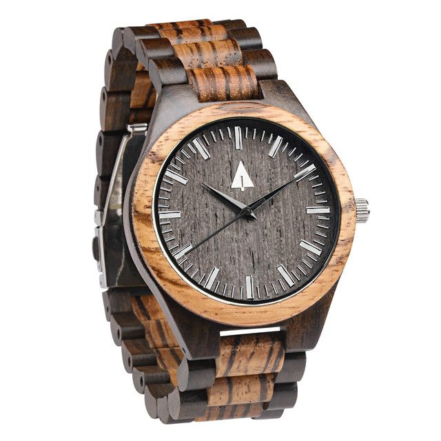 The Treehut watch's Theo Khaki Green canvas strap band is made from high quality military grade canvas with Italian genuine leather lining highlighted with hand stitchings. Face of the watch is made from beautiful figurative olive ash burl wood.