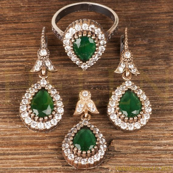 Oriental Turkish Jewelry Set  Emerald Color  by HelenFineJewel, $55.00