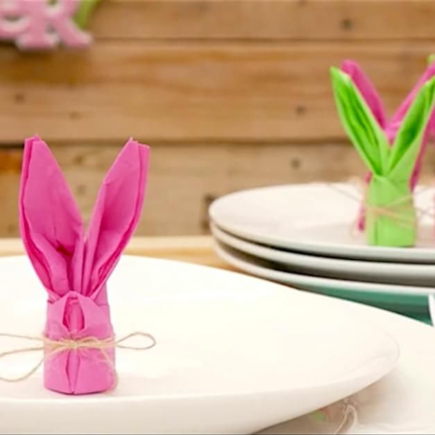 Turn Ordinary Paper Napkins Into Adorable Bunny Table Accents!
