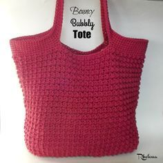 FREE crochet pattern for the Bouncy Bubbly Tote. The finished tote measures 17 inches wide by 14 inches high. It's a great tote for just about anything.