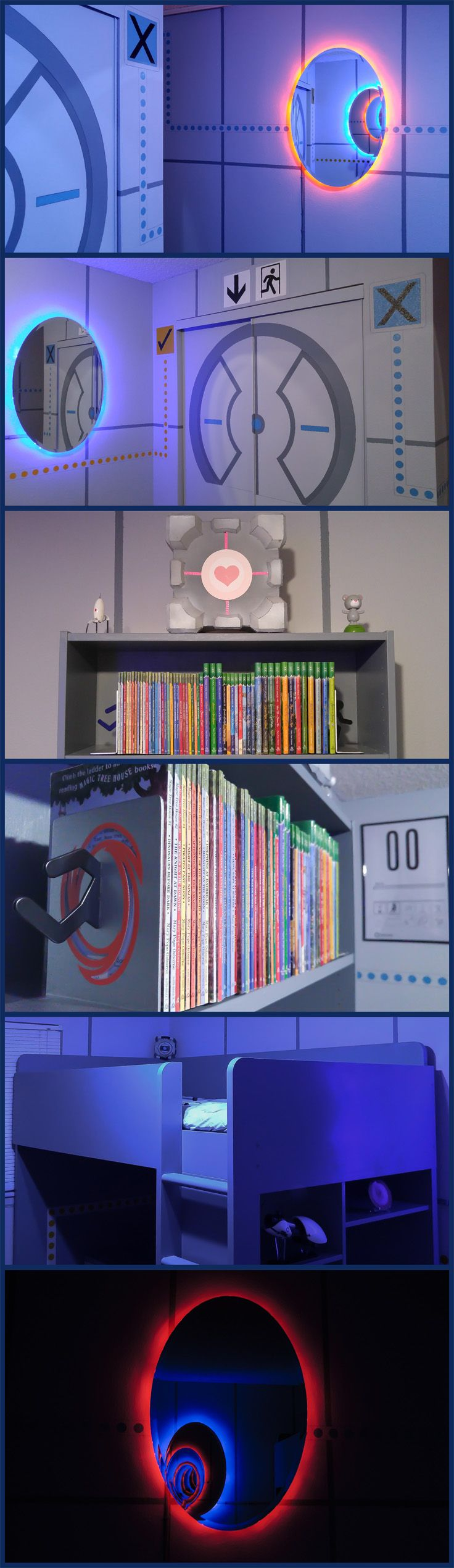 The ultimate Portal themed bedroom. Video Game come to life. Great LED mirrors and closet door.