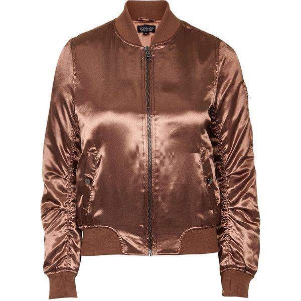 TopShop Shiny Rust ma1 Bomber ($84) ❤ liked on Polyvore featuring outerwear, jackets, coats & jackets, tops, rust, topshop jacket, topshop, brown bomber jacket, shiny jacket and flight bomber jacket