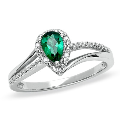Pear Shaped Lab Created Emerald Ring In Sterling Silver With Diamond Accents