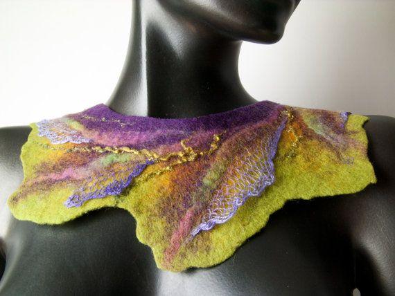 Felt Collar, Multicolor Felt Necklace