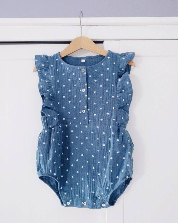 a1469e881 Muslin baby romper, baby outfit, baby playsuit, baby suit, muslin ...
