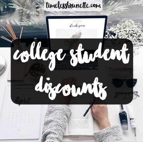College Student Discounts || Timeless Brunette.. I am a huge fan of discounts. I mean who doesn't love to save money while shopping. Going into college without depending on our parents can be challenging, especially when one is so used to g…