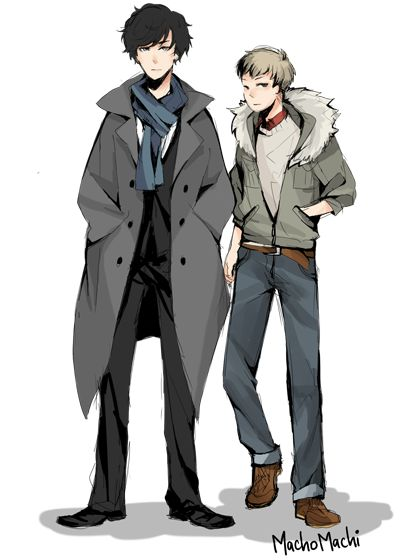 Anime Johnlock by machomachi. // I tend to avoid pinning anime doodles, partly because they're altogether too reminiscent of high school, and partly because if I make a habit of pinning cute anime guys I'll never stop. But occasionally the anime guys in question are just to cute to resist. Case in point. ^
