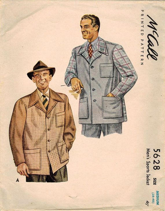 1940s McCall 5628 Vintage Sewing Pattern Men's by midvalecottage