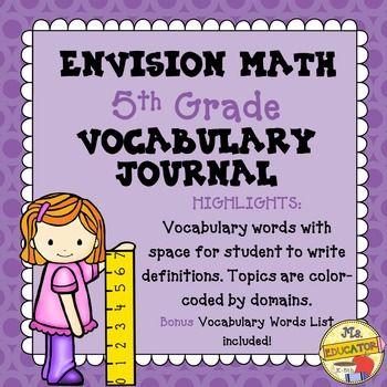 EnVision Math 2015 Common Core - 5th Grade Vocabulary Journal