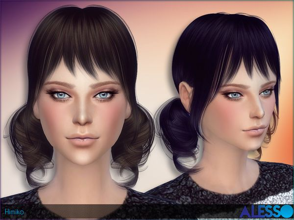 Himiko Hair by Alesso at TSR via Sims 4 Updates