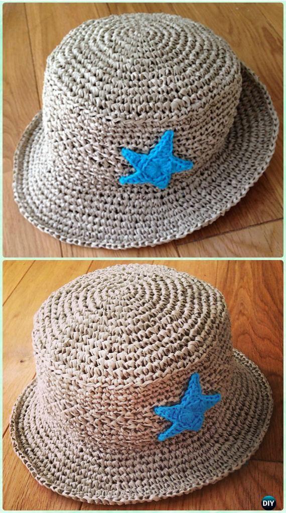 Brimmed Sombrero de sol del ganchillo del cabrito del patrón libre - Crochet Niños Sombrero de sol Patrones gratis