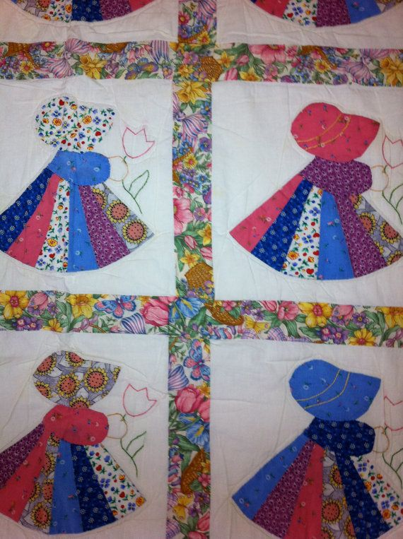 Vintage Hawaiian Sunbonnet Sue patchwork quilt with pink gingham backside - TREASURY ITEM