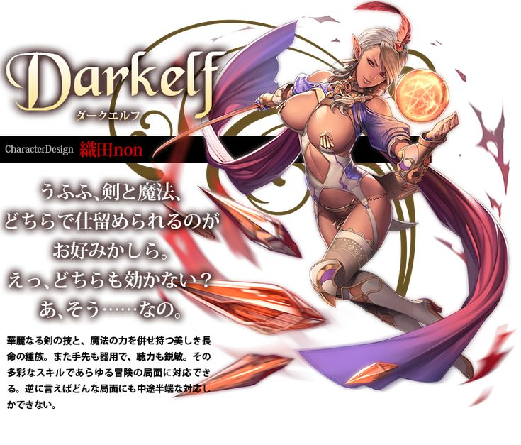 Darkelf ダークエルフ CharacterDesign:織田non 華麗なる剣の技と、魔法の力を併せ持つ美しき長命の種族。また手先も器用で、聴力も鋭敏。その多彩なスキルであらゆる冒険の局面に対応できる。逆に言えばどんな局面にも中途半端な対応しかできない。