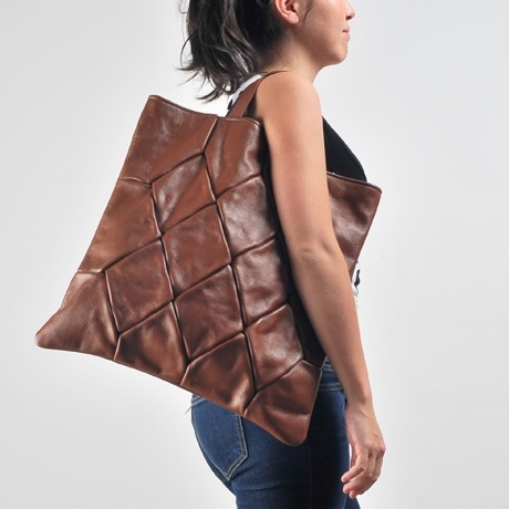 Upcycled Leather Tote - Quilted