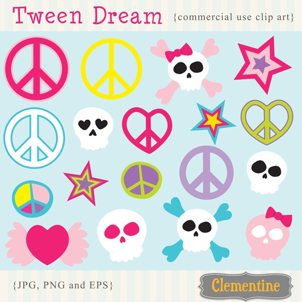 These Tween Dream Clipart designs are perfect for a tween party invitation or scrapbooking.