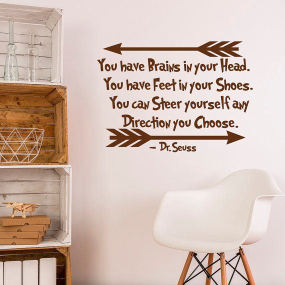 Wall Decal Dr Seuss Quote You Have Brains In Your Head Vnyl Lettering Kids Room…
