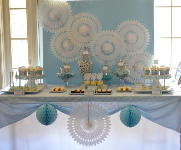 Hostess with the Mostess® - Boy First Communion...but I love the color scheme for a winter party, baby shower or....