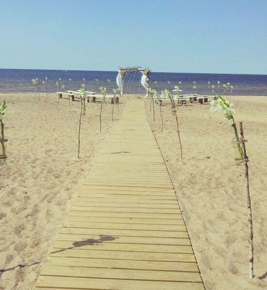 Simple beach wedding // chuppa