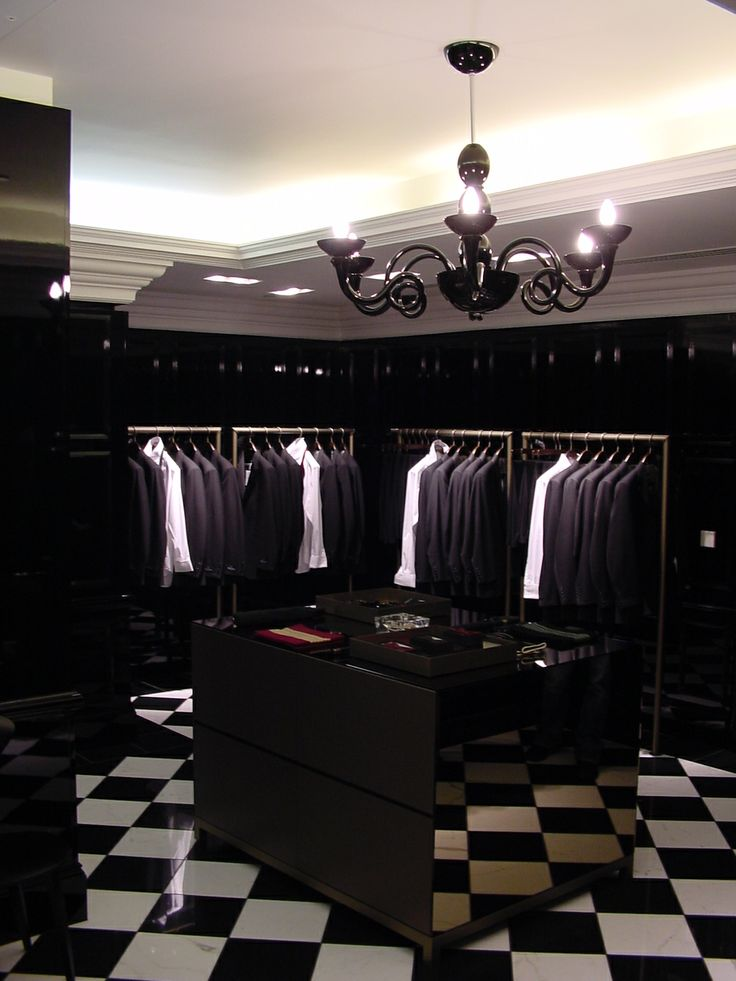 Aquascutum, London - archive photo of the black room at the 100 Regent St store, working with Fitch Worldwide