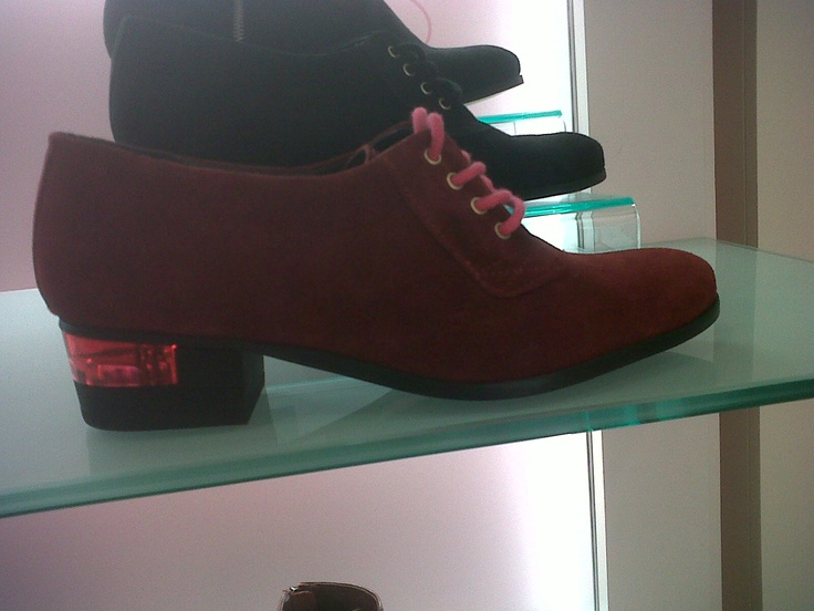 Harvey Nichols - burgandy suede upper with stacked heel & resin detail.