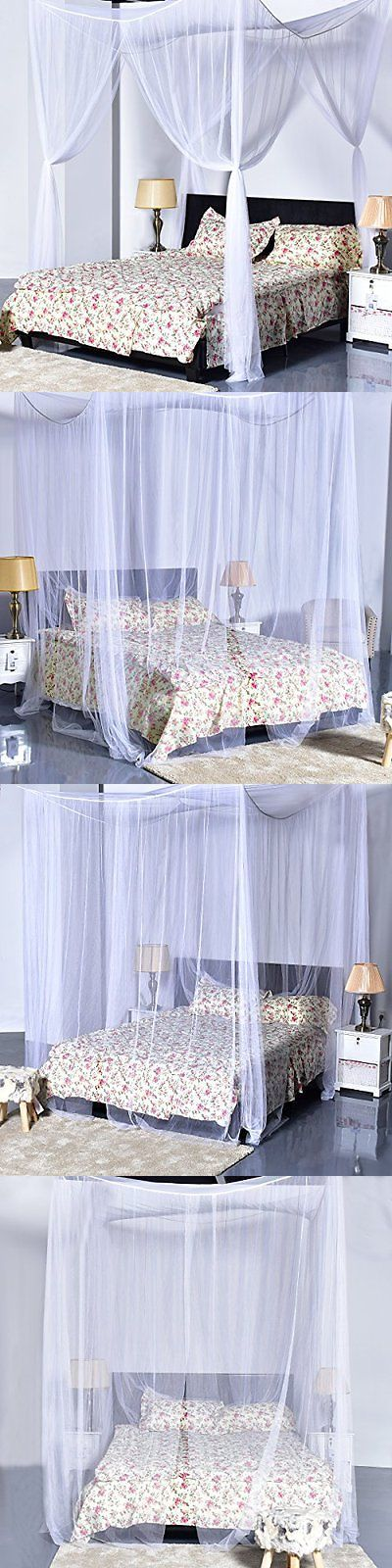 Canopies and Netting 48090: Bed Canopy Mosquito Net Square King Queen Size Corner Post White Netting Bedding -> BUY IT NOW ONLY: $32.49 on eBay!