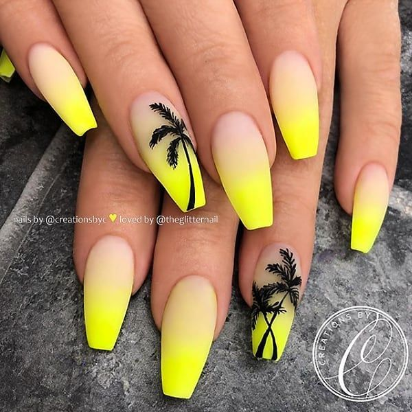 27 6k Likes 156 Comments Theglitternail Get Inspired Theglitternail On Instagram M Yellow Nails Design Neon Nail Designs Palm Tree Nails