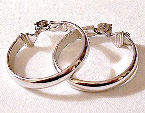 Monet Clip On Hoop Earrings Silver Tone Vintage Large ...