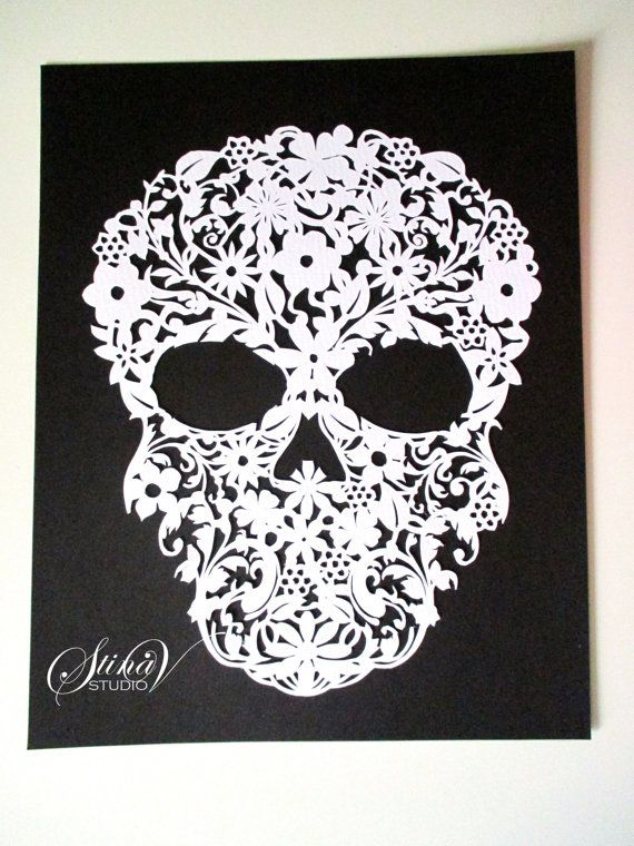 Flower Skull Handmade Original Paper Cut by StinaVStudio on Etsy