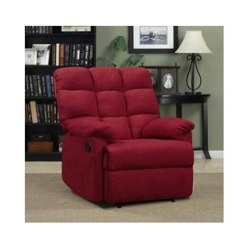 Home Theater Recliner Oversized Microfiber Chair Club Lounger Furniture Red S