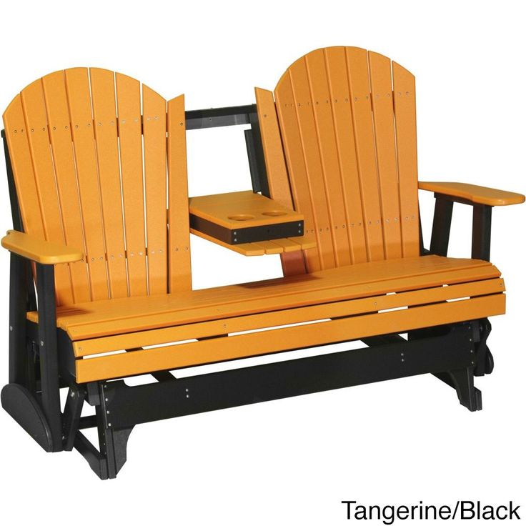 Poly Outdoor 5 Foot Adirondack Porch Glider Bench (Tangerine/Black), Multi, Size Single, Patio Furniture (Recycled Lumber)