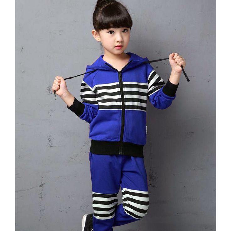 Девушка полосатый комплект одежды 2-13years девочка полосатый пиджак и брюки девушка спорт 2 шт. комплект девочек хлопок спорта комплект