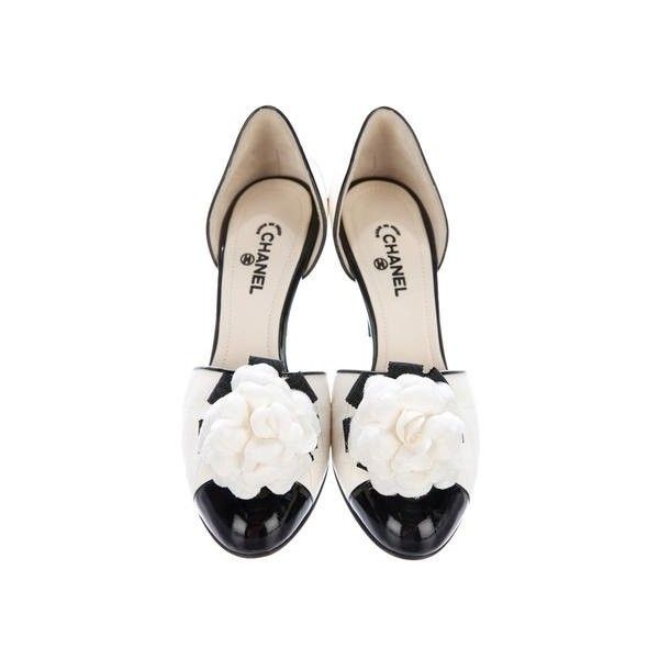 Pre-owned Chanel Camellia Cap-Toe d'Orsay Pumps ($395) ❤ liked on Polyvore featuring shoes, pumps, d orsay pumps, black pumps, cream pumps, d'orsay pumps and black cap toe shoes
