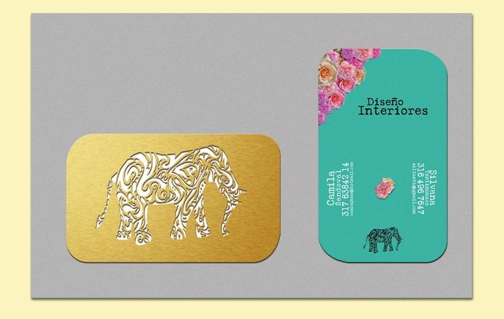 Diseño de tarjetas de presentación para las diseñadoras de interiores Silvana Tantimonaco y Camila Sandoval.
