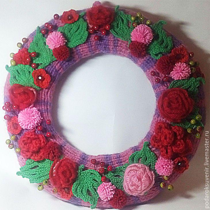 Купить венок интерьеный - ярко-красный, венок, венок на дверь, венок с цветами, интерьерное украшение