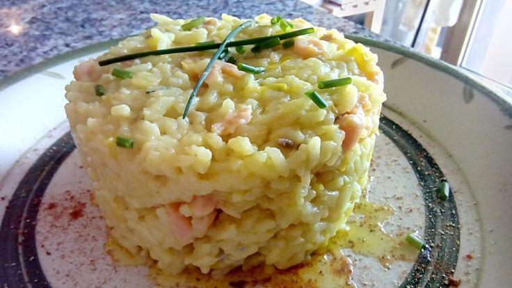 Risotto con salmón y queso azul - Risotto con salmone e gorgonzola - Smoked salmon and blue cheese risotto.