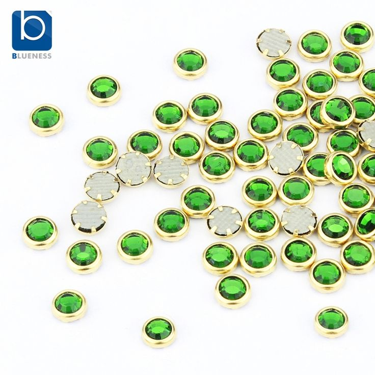 Blueness groene diamant sieraden 3d nail art decoraties 100 stks/partij glitter nail design stenen voor 3d nagels stud pj336