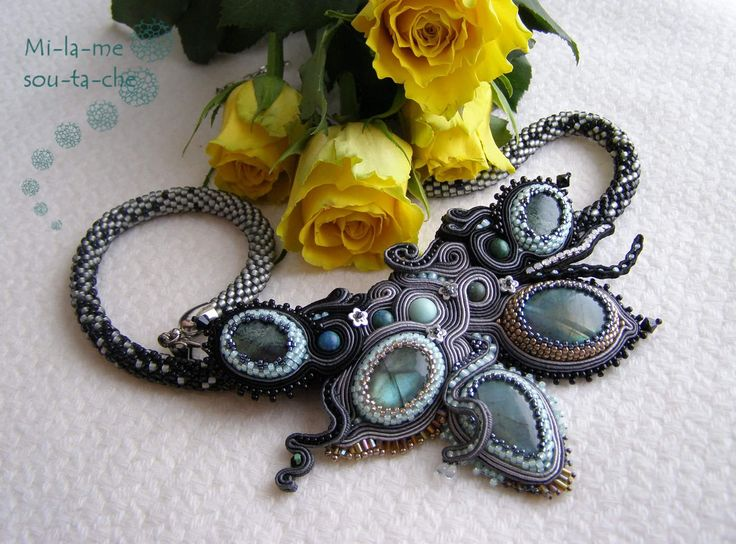 """Soutache necklace """"Genesis"""". Design and made by Milame soutache"""
